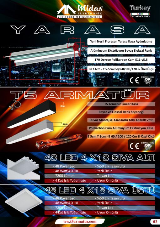 t5 led armatür  linear kasa imalat